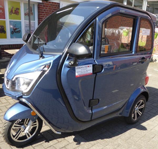 LEBENSFREUDE 3-Rad Elektro-Kabinenroller De Luxe 45 km/h Blau
