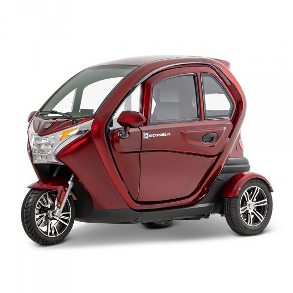 Econelo F1 Bordeauxrot Kabinenroller Seniorenscooter Führerscheinfrei 25 km/h 45 km/h